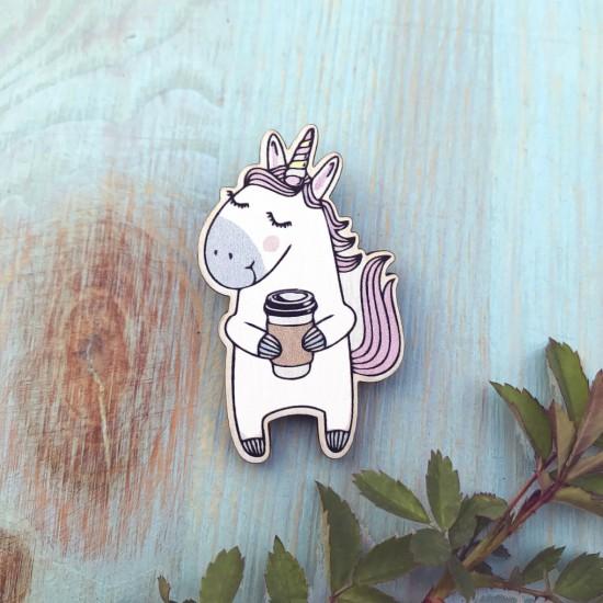 """Значок из дерева """"Единорог с кофе"""""""
