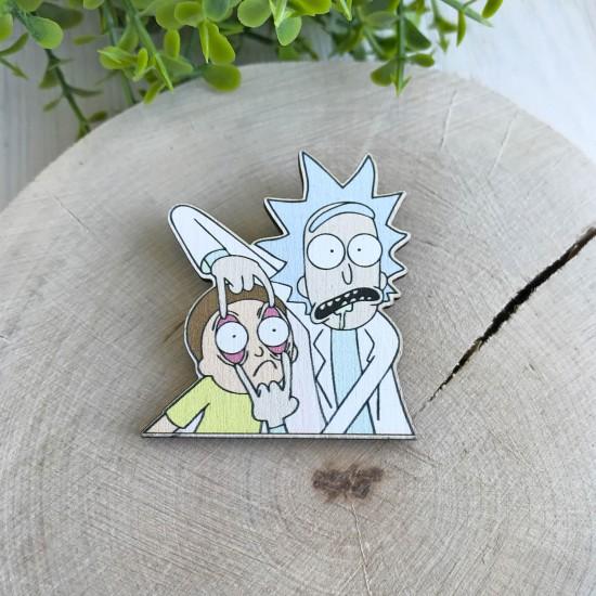 "Значок из дерева ""Рик и Морти"""
