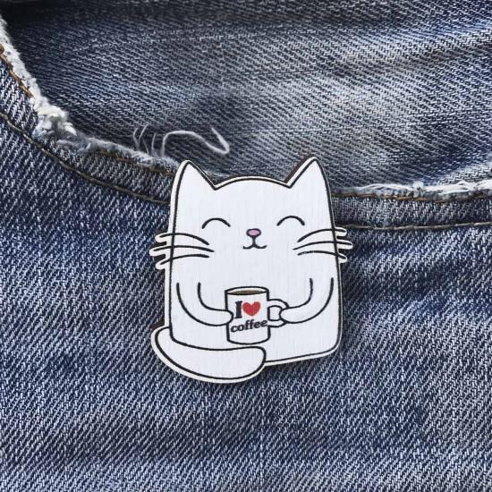 """Значок из дерева """"Котик с кофе"""""""