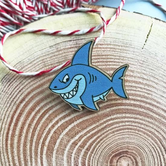 """Деревянный значок """"Синяя акула - Shark"""""""