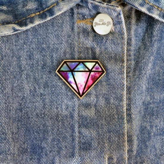 """Значок из дерева """"Космический диамант"""""""