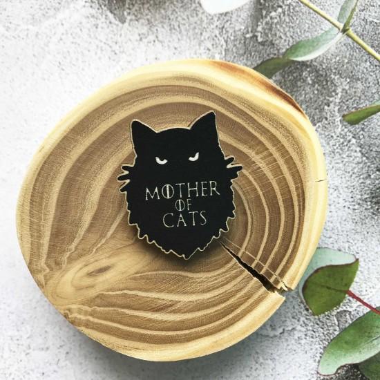 """Брошь из дерева """"Мать котов"""""""